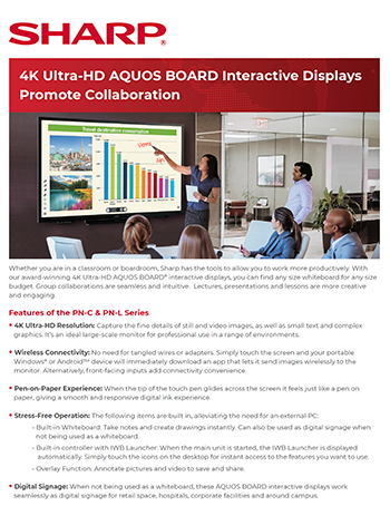 4K Ultra-HD AQUOS BOARD Interactive Displays Promote Collaboration