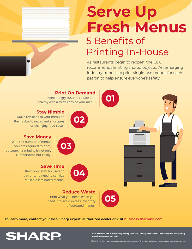 Serve Up Fresh Menus: 5 Benefits of Printing In-House infographic with text version below