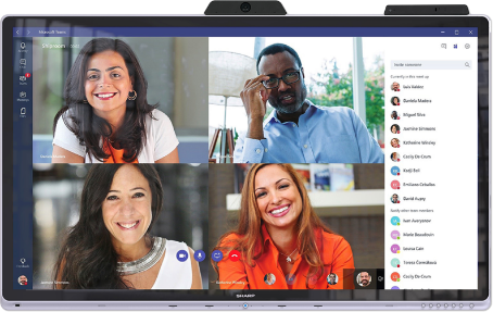 Windows collaboration display showing Microsoft Teams meeting